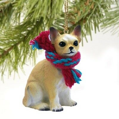 CHIHUAHUA tan brown dog HAND PAINTED ORNAMENT Resin Figurine puppy Christmas NEW