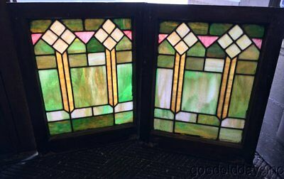 """Nice Pair of Colorful Stained Leaded Glass Windows 25"""" by 20"""" Circa 1925"""
