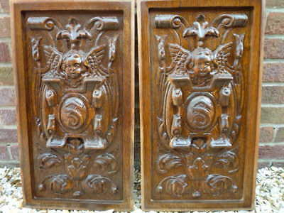Pair French Breton Carved Wood Panels High Relief Deep Carving Superb Cherub