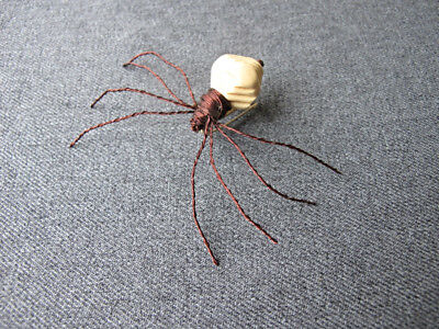 Vintage artisan hand crafted plastic bead & copper wire oversized spider pin #6