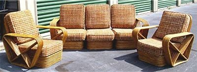 Vtg Paul Frankl Style 6 Strand Rattan Bamboo Sectional Sofa + 2 Arm Chairs