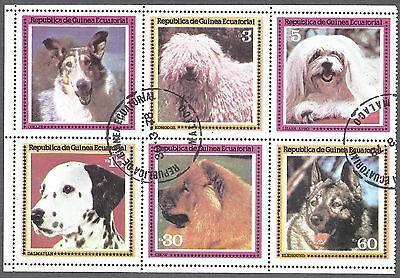 Equatorial Guinea SET OF 6 Dogs USED 1970'S