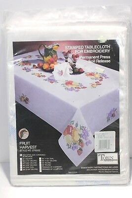 Tobin Fruit Harvest Stamped Tablecloth For Embroidery 50 x 70 Inch Oblong New