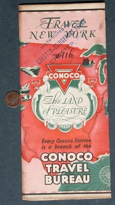 1930s Conoco Oil Gas station New York State road map-Chester,Pennsylvania Ferry!