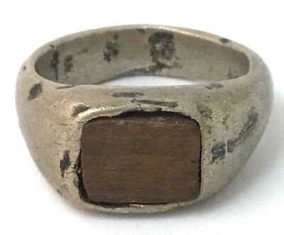 Vintage Ring Silver Tone Metal Hand Made Wood Cabochon Size 7.5