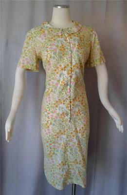 CHARMING FLORAL COTTON PRINT Vintage 1940s 50s Buttonfront HOUSE DRESS - XXL