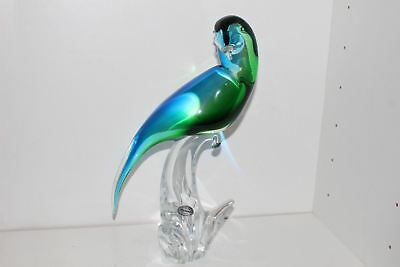 "Gorgeous Vintage Murano Italian Glass 14.25"" Blue/green Perched Parrot W/label"