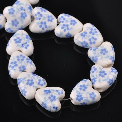 NEW 10pcs 14mm Ceramic Heart Flowers Loose Spacer Beads Findings Pattern #8
