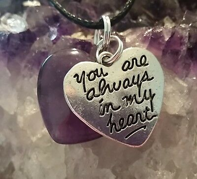 """WOW - """"YOU ARE ALWAYS IN MY HEART"""" & AMETHYST HEART PENDANT - 44cm black cord"""
