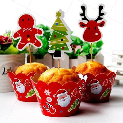 Christmas Cake Muffin Cupcake Wrappers Cases Wraps & Toppers Party Decor