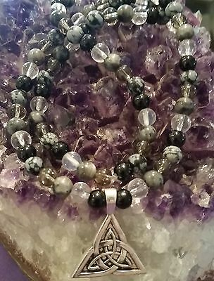 Wow - New Unique Handcrafted One Of A Kind Celtic Knot & Multi-Gemstone Necklace