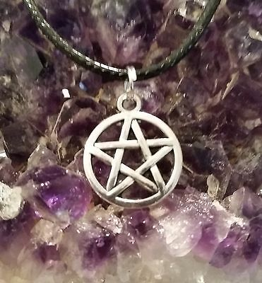 WOW - NEW PENTAGRAM SILVER PLATED CHARM PENDANT-  On 44cm Ext Black Cord