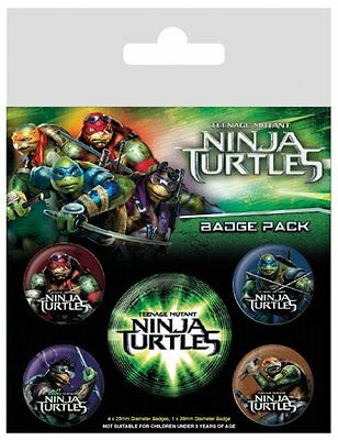 Button Badge 5er Pack TEENAGE MUTANT NINJA TURTLES - 1x 38mm & 4x 25mm NEU