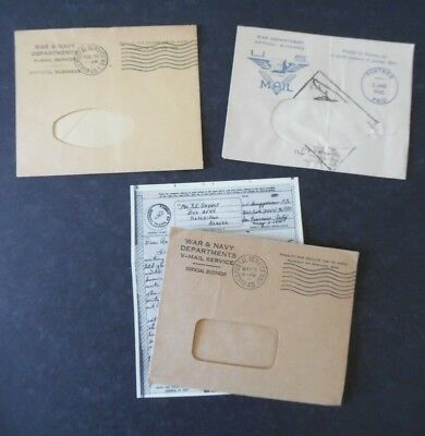 Lot of 3 1945 WWII V Mail Covers - 1 w/ Letter to Alaska