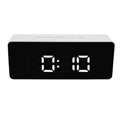 Mirror LED Alarm Clock Multifunction Digital Electronic Temperature Clock White