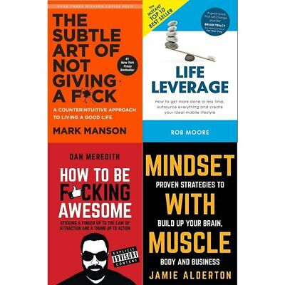 Subtle Art of Not Giving a F*ck Mindset With Muscle 4 Books Collection Set NEW