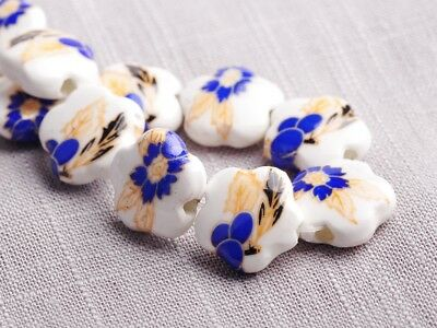 NEW 10pcs 15X6mm Ceramic Flower Shape Spacer Loose Beads Findings Pattern  #15
