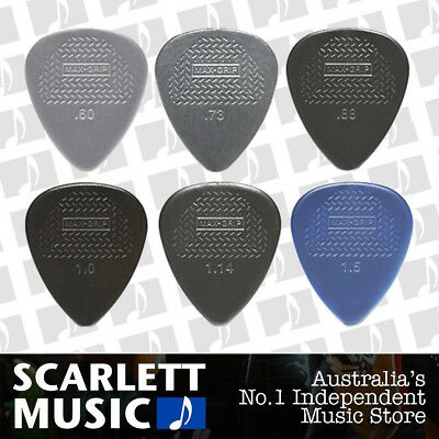6 X Jim Dunlop Max Grip MIXED Guitar Picks *NEW* Starter Max Grip Set
