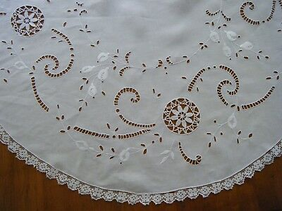 OLD Vtg Madeira Tablecloth round linen needle lace inserts raised emb/ry HD