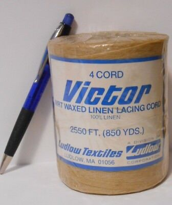 waxed LINEN lacing 4-cord rug braiding weaving twine Victor 1# roll natural