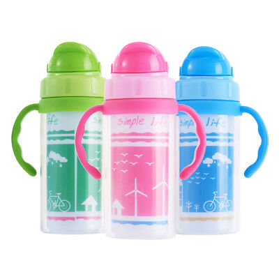 300ml Children Kids Baby Non Spill Leak Proof Toddler Training Cup Straw Bottle