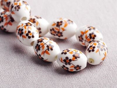 NEW 10pcs 18X12mm Oval Ceramic Flowers Pattern Loose Spacer Beads Findings #10
