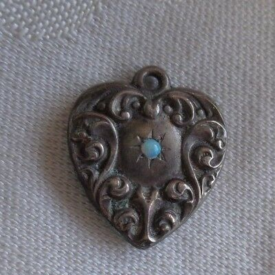Rare Vintage Sterling Silver Ornate Scroll Opal Puffy Heart Charm Old Estate