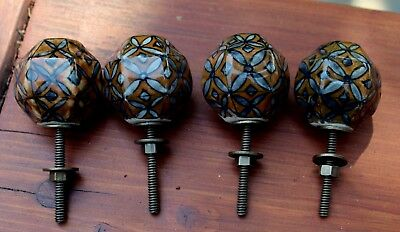4 Beautiful Old Antique Art Deco/Nouveau FLOWER Glass Drawer Pulls LOT