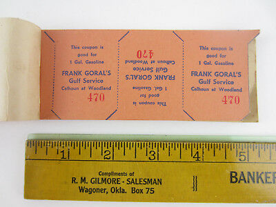 Rare vtg 1930's GULF SERVICE Station Oil Refining COUPON BOOK Gasoline Credit