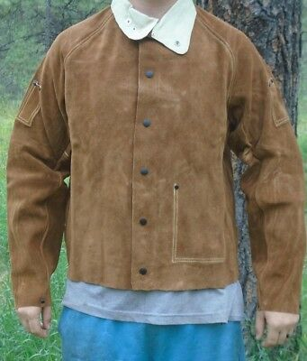 "NEW 26"" Leather Welding Jacket Size Large with leather collar"