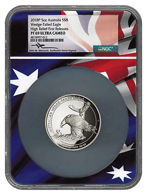 2018-P Aust 5 oz HR Silver Wedge-Tailed Eagle NGC PF69 UC FR Mercanti SKU54479