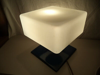 Original Vintage Frosted Square Glass Shade Laurel Table Lamp Mid Century  Modern