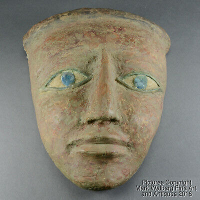 Authentic Egyptian Sarcophagus Mask, Wood, Gesso & Polychrome, Late Period