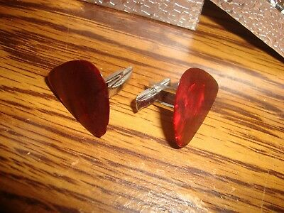 Burgundy Swirl Pearl Guitar Pick Cuff links 1 Pair (Two)  SILVER Plated
