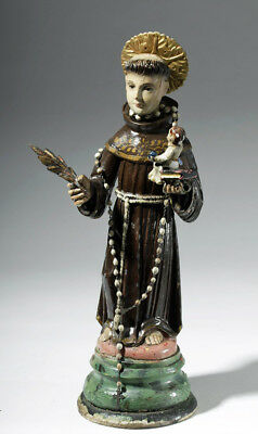 ARTEMIS GALLERY 19th C. Mexican Wood Santo of St. Anthony of Padua