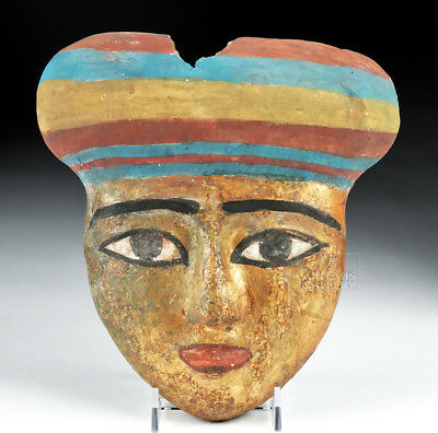 ARTEMIS GALLERY Egyptian Wooden Gilded / Painted Mummy Mask