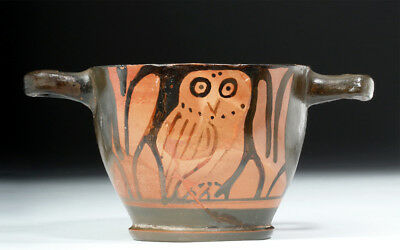 ARTEMIS GALLERY Greek Apulian Red-Figure Owl Skyphos