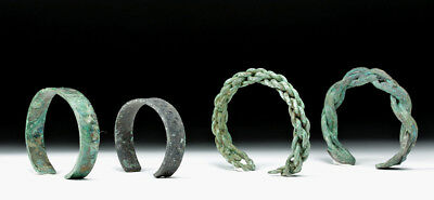 ARTEMIS GALLERY Lot of 4 Viking Bronze Bracelets - Solid and Braided
