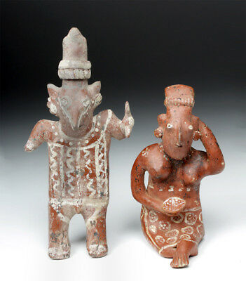 ARTEMIS GALLERY Pair of Fine Jalisco Pottery Sheepface Figures