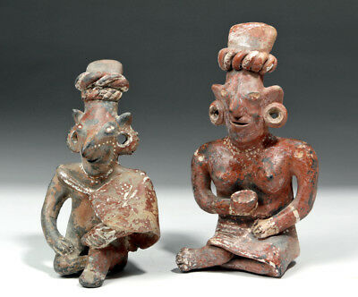 ARTEMIS GALLERY Pair of Fine Jalisco Pottery Sheepface Seated Figures
