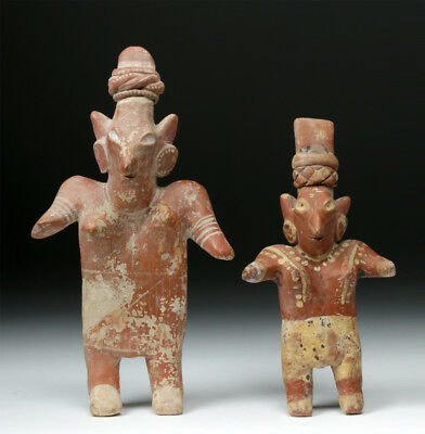 ARTEMIS GALLERY Pair of Jalisco Pottery Female Standing Figures