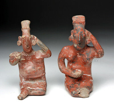 ARTEMIS GALLERY Pair of Jalisco Pottery Seated Female Sheepface Figures