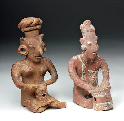 ARTEMIS GALLERY Pair of Jalisco Seated Ceramic Sheepface Female Figures