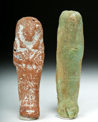 ARTEMIS GALLERY Pair of Miniature Egyptian Ushabtis - Faience, Ceramic