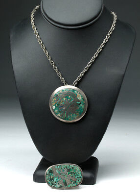 ARTEMIS GALLERY Pair of Vintage Mexican Taxco Silver & Turquoise Items