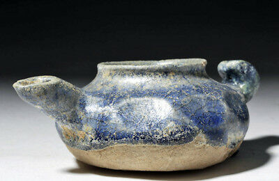 ARTEMIS GALLERY Rare 11th C. Persian Pottery Blue-Glazed Oil Lamp