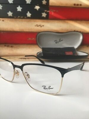 7718b73a0b New Ray Ban Eyeglasses Frame RB 6344 2890 RX 56MM Black Gold Square 56-17