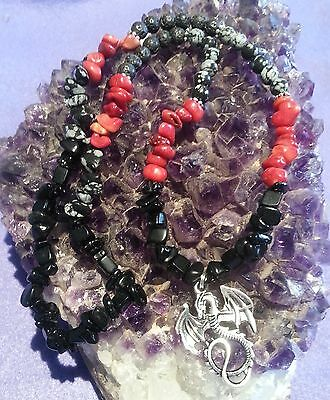 Wow - Stunning Handcrafted Gemstone & Dragon Necklace - Free Post