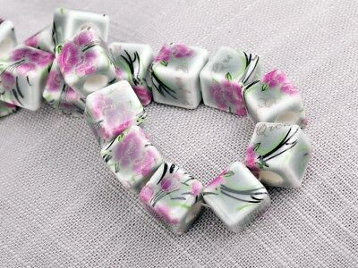 NEW 10pcs 10mm Cube Square Ceramic Spacer Loose Beads Flowers Pattern #19