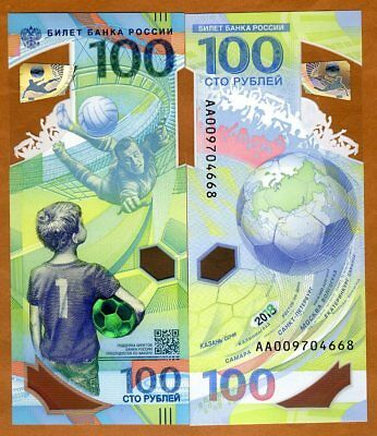 Russia, 100 rubles, 2018, FIFA, Football World Cup Commemorative Polymer AA, UNC
